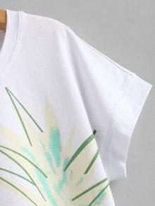 Corta Blanco Camiseta Manga De a S Con De Pi Estampado g6Eva86