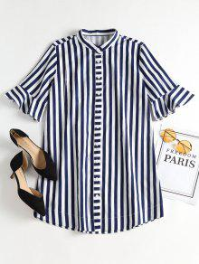 بيل كم مخطط اللباس قميص صغير - Blueberry Blue M
