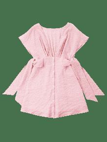 El Con Rosado Escote Vestido L Cuello De Gingham En Mini twSYPqt