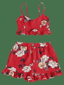 Y Top Corto Floral Rojo Amo De De Cami Conjunto S qwUZaR