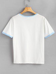 Azul Con Estampado Xl Extragrande Texto Estampada Mariposa De Camiseta EYvqx