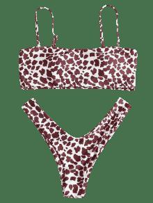 f62e58f122a20 39% OFF  2019 Dairy Cow Print Bandeau Bikini Set In MULTI S