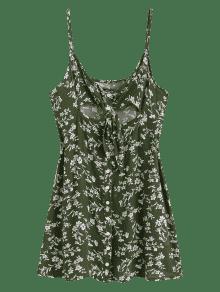 Floral 237;nea L Un Mini Tie S De Front Jungla De Vestido Button Verde fq1arwf
