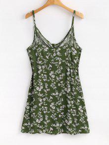237;nea S Button Jungla L Vestido Front De Mini Floral Tie Un Verde De pq7npOxw