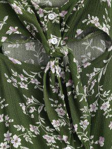 Mini L Front De Button Vestido Floral Tie Un CvtnAwqqB