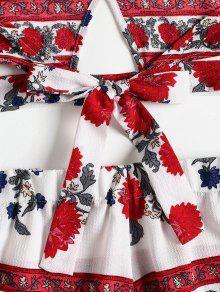 Pantalones Conjunto L Florales Cortos De Top Halter Blanco C6r65pWa
