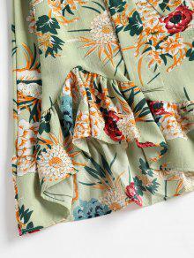Florales Con De Cambray De Xl De Volantes Dobladillo Rana Verde Vestido wO76xYA4q7