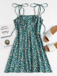 ZAFUL الأزهار التعادل الشريط المئزر البسيطة فستان الشمس - ازرق مخضر S