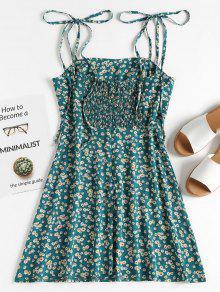 Delantal Floral Tie Azul Mini Verdoso Sundress Tira Con S Frw6qfBF
