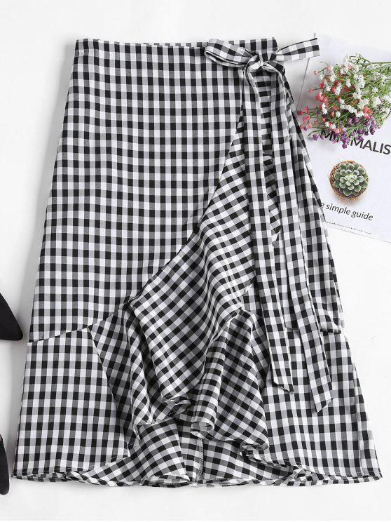 fancy Asymmetrical Gingham Ruffle Midi Wrap Skirt - BLACK ONE SIZE(FIT SIZE XS TO M)
