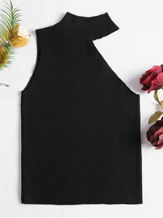 1abe40f43efc33 27% OFF] 2019 One Shoulder Sleeveless Knit Top In BLACK | ZAFUL