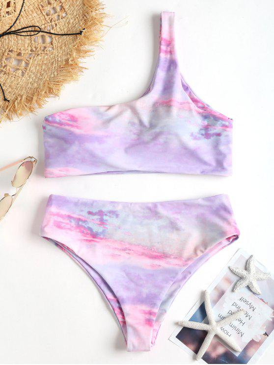affordable Tie Dye One Shoulder Bikini - MAUVE L