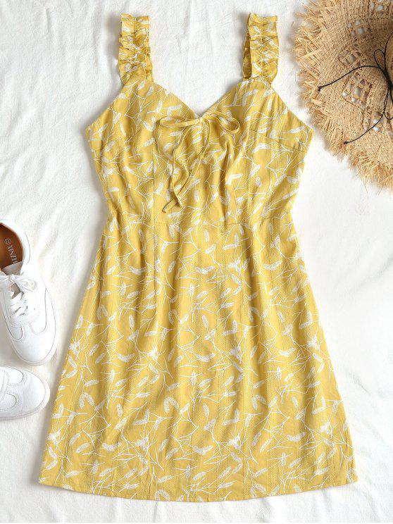 hot Feather Print Smocked Dress - HARVEST YELLOW L