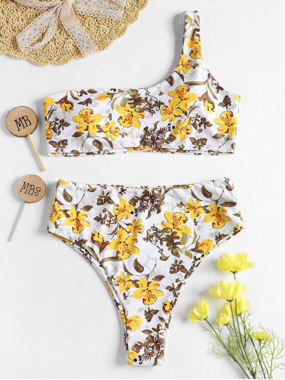 lady One Shoulder Floral High Waisted Bikini - YELLOW S