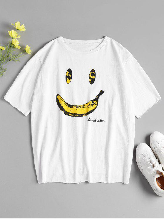 1675bdcbb 31% OFF] 2019 Banana Print Oversized Graphic Tee In WHITE | ZAFUL