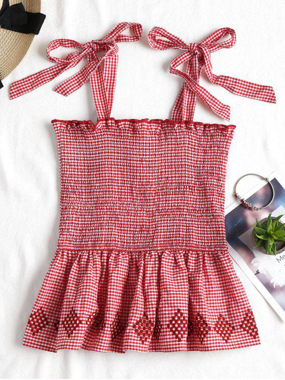 shop Smocked Gingham Blouse - RED L