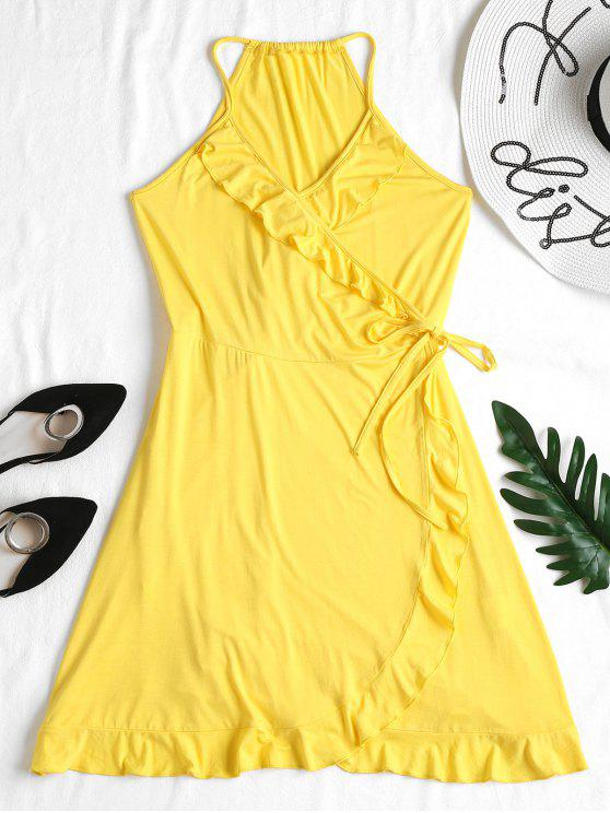 new Ruffles Wrap Dress - YELLOW L