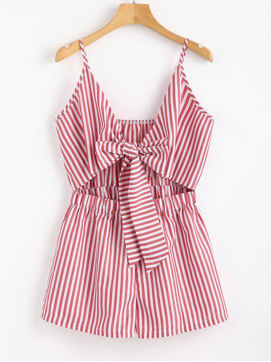 89508d1fd0d1 19% OFF  2019 Cami Striped Tie Front Romper In PALE VIOLET RED