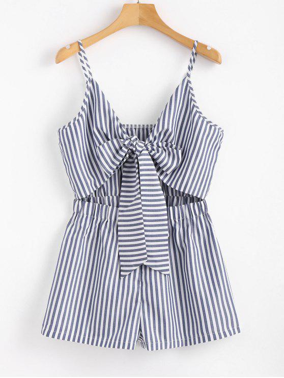 Cami Striped Tie Front Romper - Azul Oscuro de Denim L