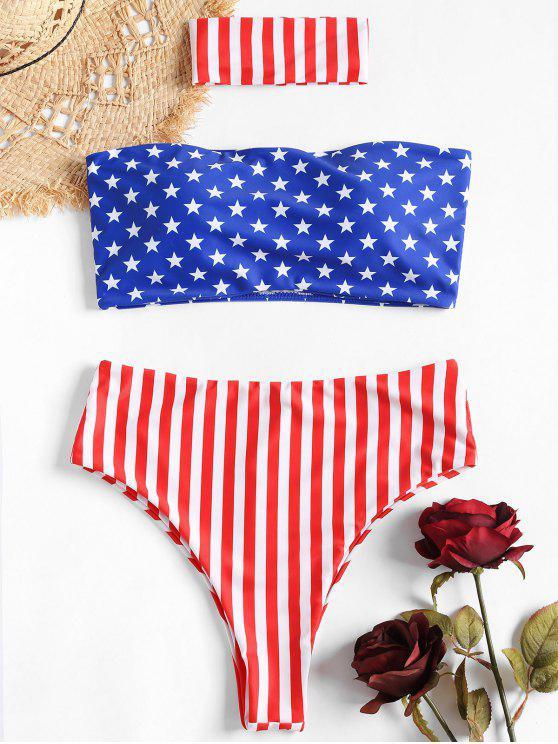 Bikini Stampato Bandiera Americana A Vita Alta Con Choker - Multi Colori L