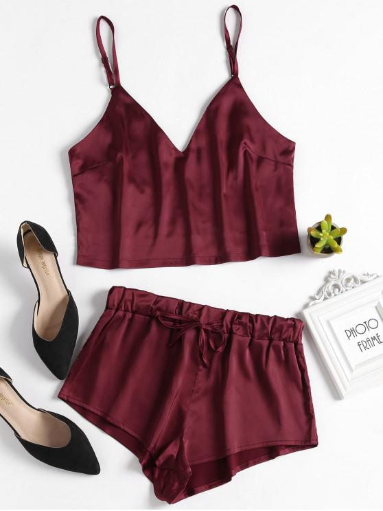 affordable Cami Top and Shorts Satin Pajama Set - RED WINE M