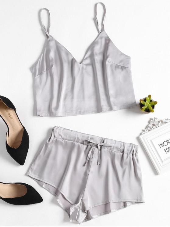 women Cami Top and Shorts Satin Pajama Set - SILVER L