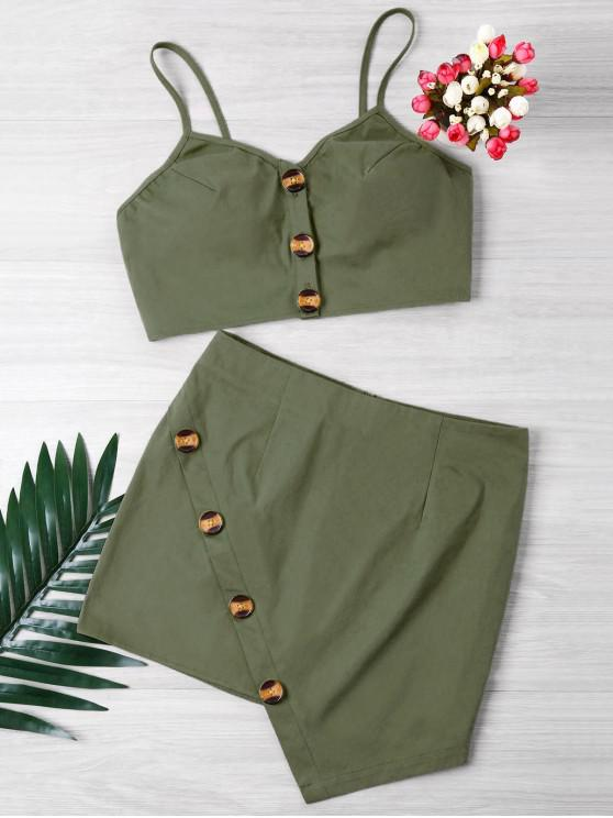 hot Buttoned Crop Top And Mini Skirt Set - ARMY GREEN S