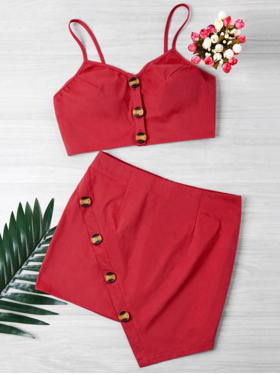 trendy Buttoned Crop Top And Mini Skirt Set - RED L