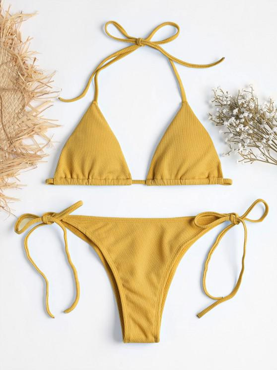 fancy Ribbed String Bikini Set - SCHOOL BUS YELLOW L