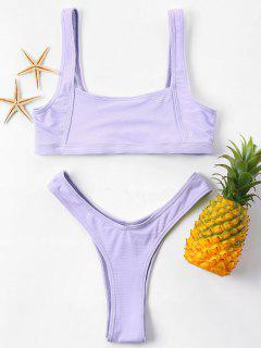 Square Neck Thong Bikini Set - Purple S