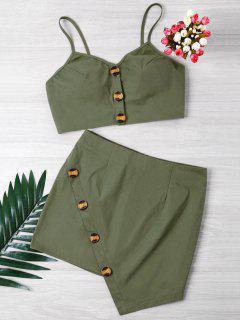 Conjunto De Falda Corta Y Mini Con Botones - Verde Del Ejército M