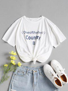 Letter Cotton Relaxed Graphic Tee - White