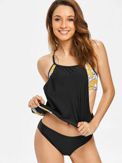 Lotus Flower Blouson Tankini - Black S