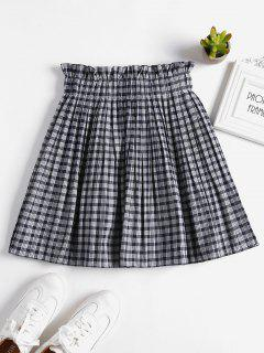 Gingham Paper Bag Pleated Mini Skort - Blue Jay