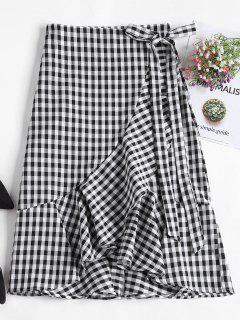 Asymmetrical Gingham Ruffle Midi Wrap Skirt - Black