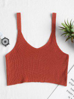 Camiseta Sin Mangas Con Cuello En V - Castaño Rojo M