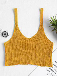 Camiseta Sin Mangas Con Cuello En V - Amarillo Brillante S