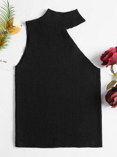 One Shoulder Sleeveless Knit Top - Black