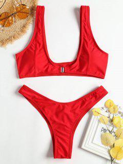 Vorderer Verschluss Hohes Bein Bikini - Rot L