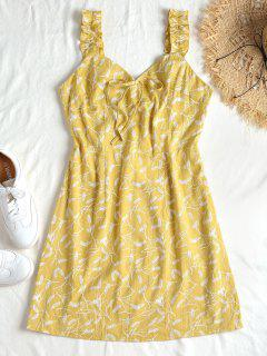 Feather Print Smocked Dress - Harvest Yellow S
