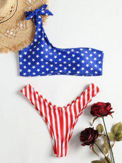 Eine Schulter Amerikanische Flagge Bikini - Multi L