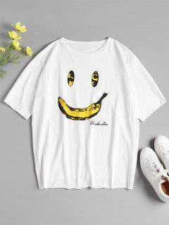 Banana Print Oversized Graphic Tee - White
