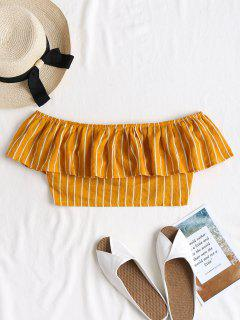 Striped Off Shoulder Blouse - School Bus Yellow M