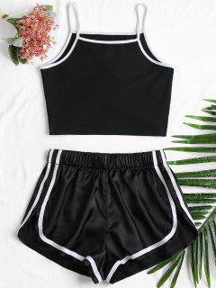 Piping Cami Shorts Set - Black L