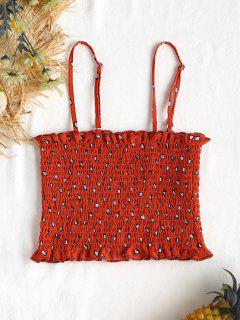Dotted Smocked Cami Top - Love Red S