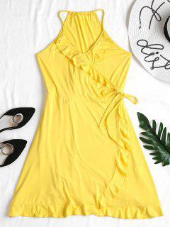 Ruffles Wrap Dress - Yellow L