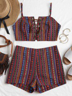 Conjunto De Shorts Lace Up Cami - Multicolor L
