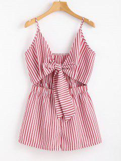 Cami Striped Tie Front Romper - Pale Violet Red M
