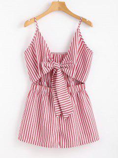 Cami Striped Tie Front Romper - Lila Roja S