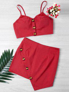 Buttoned Crop Top And Mini Skirt Set - Red M